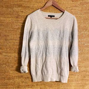 Banana Republic Cream and Gray Sweater